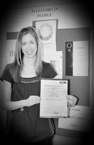 The NVQ in Business Improvement Techniques provides Prism staff with the necessary skills to improve business performance to benefit customers –- Lindsay Webb with her certificate.